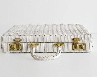 vintage white woven briefcase laptop bag case 1960s