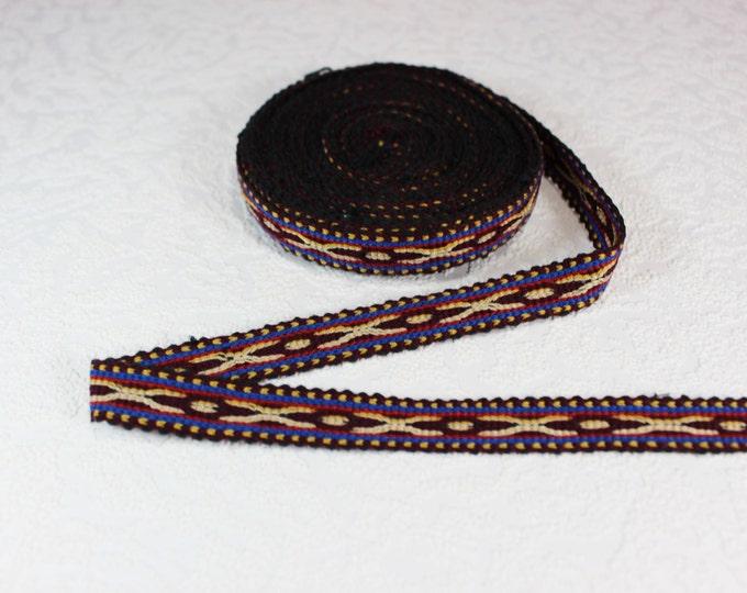 Woven Trim (6 yards), Woven Border, Cotton Ribbon, Grosgrain Ribbon, Dress Border, Border Trim, R147