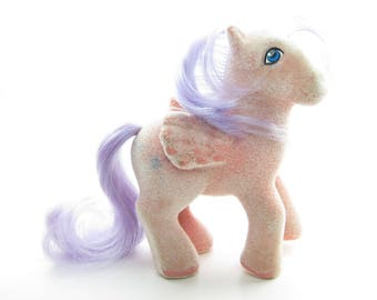 North Star So Soft My Little Pony Vintage G1 Flocked Pegasus with Pink Body, Purple Hair