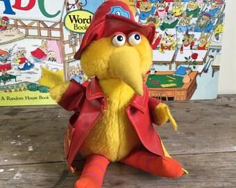 Big Bird plush toy, 1980's,  Sesame Street, made in Taiwan, yellow, kids toy, collector
