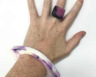Purple and White Marbled Resin Cuff Bangle