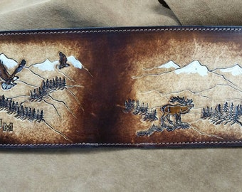 Personalized Men's Leather Wallet Eagles and Elk, Hand Stamped Leather Billfold  Stamped Front and Back all credit card inside made to order