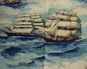 Fabric panel of two sailing ships--great for a pillow or a wall hanging