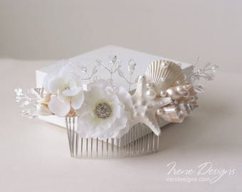 White Beach Wedding Hair Comb. Seashell Starfish Pearls Crystals & Flower Hair Comb. Beach Wedding Headpiece