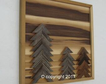 Wood Wall Art- Wood Wall Sculpture- Reclaimed Wood Wall Art- Rustic Deror,  Wall Art- Trees-Barn boards- Landscape Art