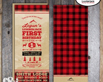 Lumberjack Invitation | Lumberjack First Birthday Invitation | Lumberjack Party | Lumberjack Invite | Buffalo Plaid Invitation | Printable