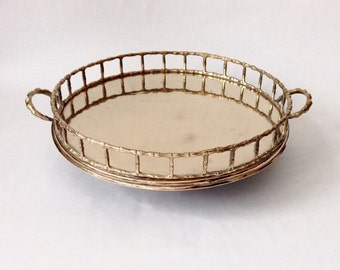 Round Brass Faux Bamboo Chinoiserie Serving Tray