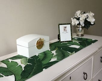 Green Leaf Table Runner - Beverly Hills - Palm Spring - Tropical - Ready to ship