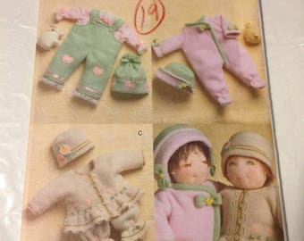 "Vogue 8013, 15""doll clothes, sleepers, bib overalls, hat, dress,"