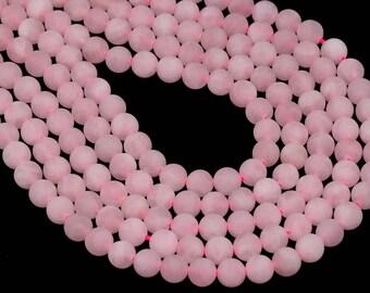 "4MM Matte Rose Quartz Beads Grade AAA Genuine Natural Gemstone Round Shape Full Strand Loose Beads 15"" BULK LOT 1,3,5,10 and 50 (100277-281)"