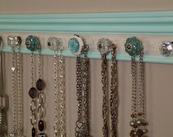 """jewelry necklace holder with 9 decorative knobs 26"""" great gift of decor and jewelry storage organization"""