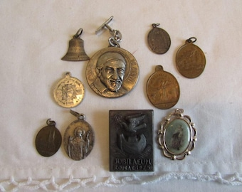Antique French 10 religious medals, medallions...  beautiful collection