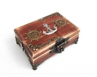 Nautical Ring Bearer Box - Pirate Treasure Chest - Anchor Box - Keepsake Box - Ring Bearer Box - Nautical Wedding