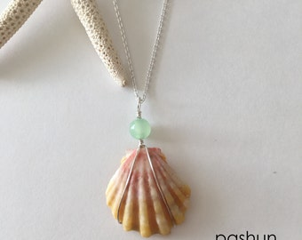 Seashell Jewelry … Sunrise Shell With Glass Bead Necklace (1549)