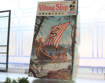 Aurora Viking Ship Model Kit Vintage 1960s Unused and Complete