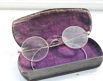 Antique Eyeglasses Silver Colored Frames with Case
