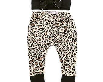Baby Leggings, Baby Leopard Print Set, Baby Headband Set, leopard print, sequin bow, leopard bow