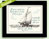 If you want to know how much I love you count the waves in the sea Sail Boat Wedding Gift Engagement Gift Honeymoon Cruise Beach House