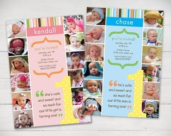 The First Year 1st Birthday Invitation Multi Color - Digital File
