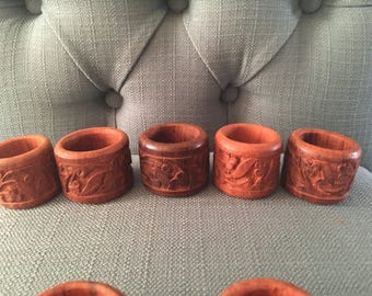 Vintage Tiki Napkin Rings 60s 70s Boho Home Kitchen - Set of 8 9 12
