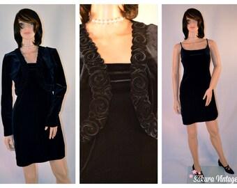 Vintage Black VELVET Mini Dress & Jacket Strapless Sheath Medium / Large Niki Lavas 1990s