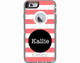 Personalized iPhone 6 & iPhone 6s Rugby Stripe Otterbox Defender Phone Case | Custom Phone Cases