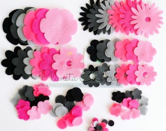 Felt flower Black and Pink, set of 96 pieces, Die Cut Shapes, Applique, Confetti, Party Supply, DIY Wedding