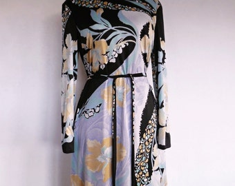1DAY SALE :) PERFECT Orchids . Nwt! Nos New Old Stock Unworn Unused Stunning Art Nouveau Print Midi Dress 70s M Matching Belt
