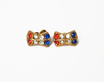 Vintage Red, Blue & Clear Tiny Rhinestone Post Earrings