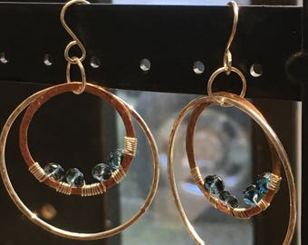 Topaz Sterling Hoop Earrings