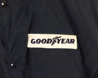 Vintage Good Year  GoodYear Baseball Bomber Jacket Snap Front Navy Blue Quilted Lining Swingster Size M