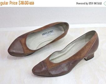 ON SALE Vintage 80's Toffee Leather Heels Sz 8WW