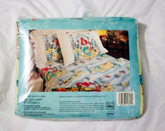 80s Little Mermaid sheets set NIP - Vintage FLAT and FITTED and Pillowcase - Rare Disney material bedding