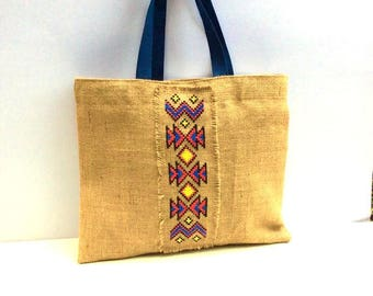 Tribal Embroidered Jute Tote Bag, completely handmade tote and cross-stitched with colorful pattern  one of a kind