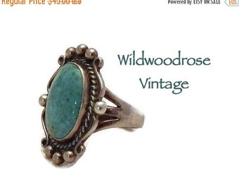 HOLIDAY SALE Vintage Turquoise and Sterling Silver Ring - Navajo Native American Sterling Jewelry - Boho Turquoise Silver Statement Ring - L