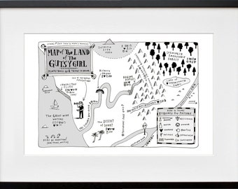 Map of the Land of the Gutsy Girl. Signed