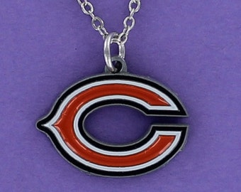 CHICAGO BEARS Logo Necklace - Pewter Team Logo Pendant on a FREE Plated Chain
