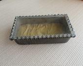 Vintage Glass Top Memory Box hinged lid