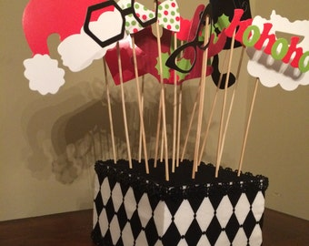 Photo Prop holder / Cake Pop Stand Harlequin Christmas Print Cake stand/Topper Centerpiece display/Party/Table Decoration with Rhinestones