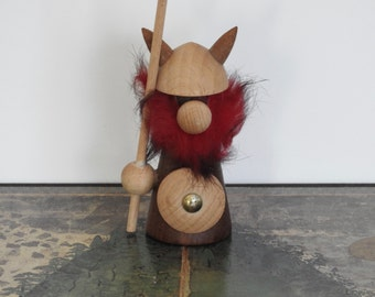 Small Teak Viking Figurine