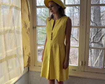 Vintage Lemon Yellow Special Event Silk Dress/Vintage 1960s/Size Small