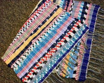 Handmade  bright multicolored tee shirt  loom woven rag rug  south dakota made