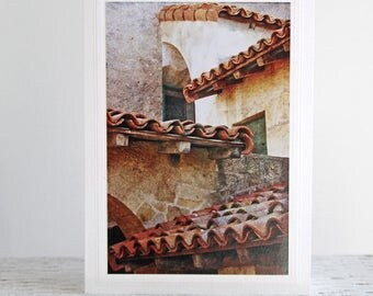 Mission Roofs Photo Greeting Card, Santa Barbara Mission, Fine Art Photography, Architecture Photography, Textured Photo, Old Roof Shingles