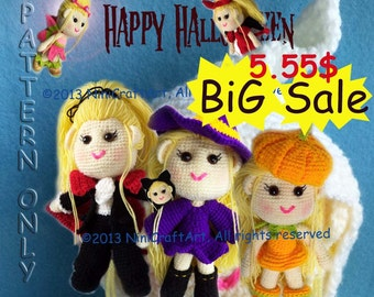 BiG Sale Lily in Halloween: 7 Styles Outfits Pattern in Halloween with Changeable Clothes Crochet Doll( PDF only )