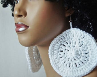 Large Crochet Earrings- White