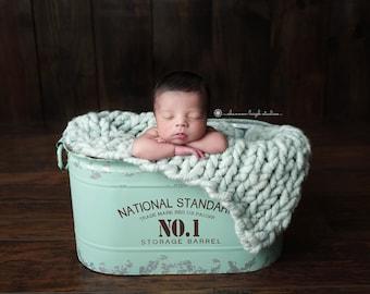 Large Rustic green vintage-look metal tub,  newborn photography prop, perfect for indoor/outdoor, distressed metal bin, RTS