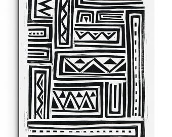 Geometric Tribal Art - Triangles and Zig Zag Design - Linocut Block Print - Original or Digital Print