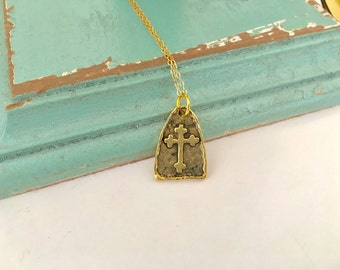 Hammered Cross necklace, Gold cross pendant, medieval cross, gold filled chain