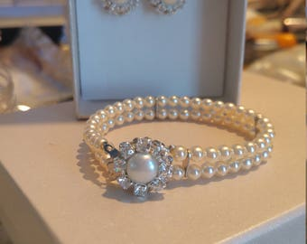 Bridal Pearl Set Bracelet Cuff Two Strand Wedding Jewelry Swarovski Rhinestone Pearl Wedding Bridal Set Jewelry Matching bridal Earrings Set