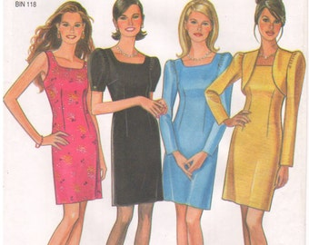 1990s - New Look 6570 Vintage Sewing Pattern Sizes 8/10/12/14/16/18 Dress Cropped Bolero Jacket Darts Fitted Sleeveless Long Short Sleeve